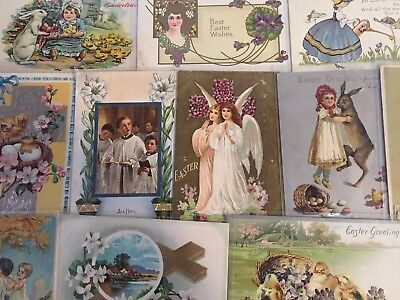 LOT OF 25  VINTAGE  EASTER HOLIDAY POSTCARDS-CHICKS, BUNNY,ANGEL,1900's -m48