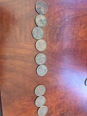 1970-1979 Collection Of 9 Canadian One Cent Pennies Missing 1976