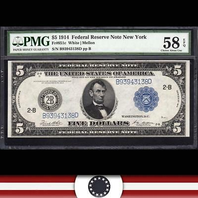 Fr 851c 1914 $5 New York  Federal Reserve Note FRN  PMG 58 EPQ  B93943138D