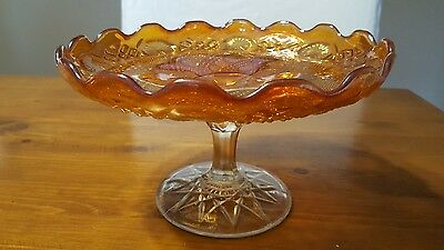 Vintage Carnival Pressed Glass Cake Stand / Plate With Clear Glass Foot .
