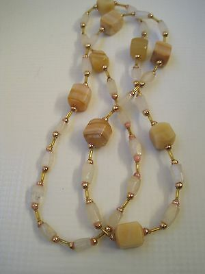 Vintage square cut stone bead necklace - 32 inches long
