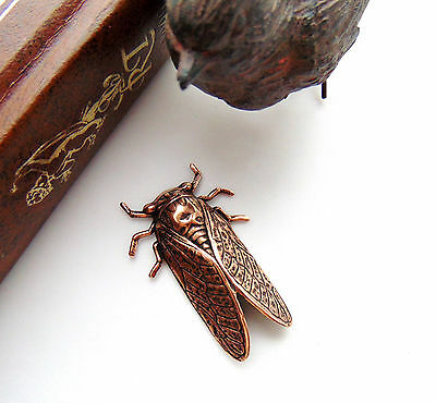 ANTIQUE COPPER Insect Beetle CICADA Stamping ~ Oxidized Finding (FA-6045) *