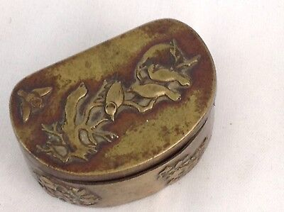 Unusual Antique Oriental Brass Box ( Snuff ? ) C. 1890/1910