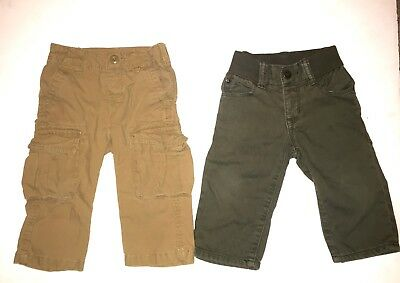 Lot Of 2 babyGap Baby Boy Pants Size 6-12 Months Khaki And Army Green
