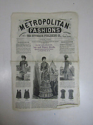 Antique Butterick Metropolitan Fashions July 1882 Dress Pattern Catalog