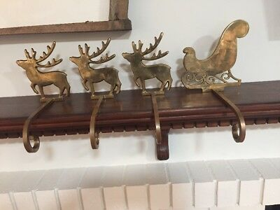 Vintage Heavy Solid Brass Christmas Stocking Holders Lot of 3 Reindeer 1 Sleigh