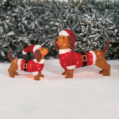 Christmas Sculpture LED Set of 2 Dogs Santa Claus Hat Pre-Lit Outdoor Fluffy