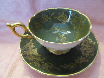 Coalport, England, Bone China, Dark Green Orchid Pattern Cup & Saucer - Vgc