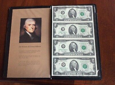 2003 uncut sheet of four US $2.00 bills in bankers portfolio