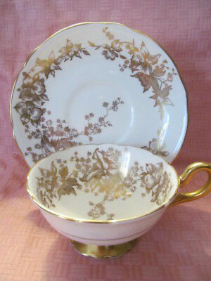 Coalport, England, Bone China, White Orchid Pattern, Footed Cup & Saucer - Vgc