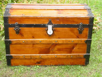 ANTIQUE Trunk  1879 STEAMER TRUNK CHEST Black Friday Special  Free Shipping