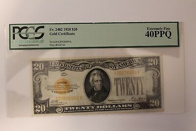 1928 $20 Gold Certificate PCGS Extremely Fine 40 PPQ