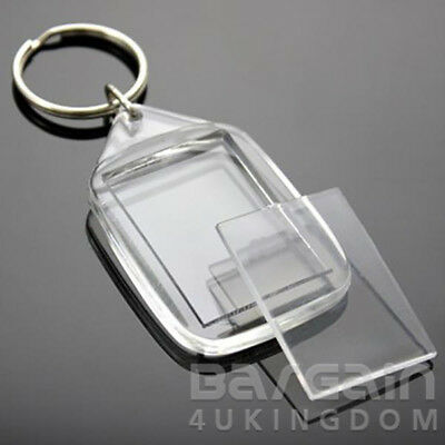 Top Quality 35x24mm Insert Clear Blank Acrylic Photo Keyring Personalise Plastic