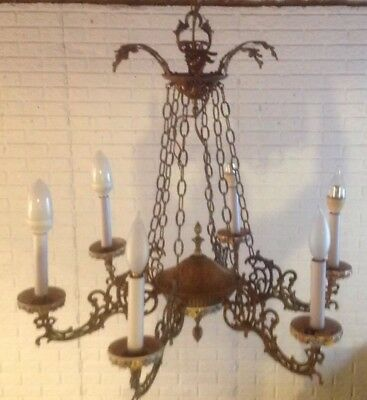 Beautifully ornate Spanish brass 6 light chandelier large working condition