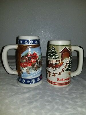 lot of two budweiser holiday steins 1995 and 1984