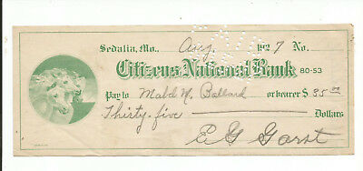 CNB of Sedalia, MO. 1927 draft. Colorful Green with Horses vignette.!!! XF.!