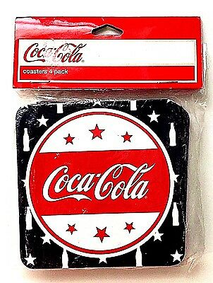 NEW Coca Cola Coke Red White & Blue Cork Backed Coasters 4 Pack Square 4 x 4