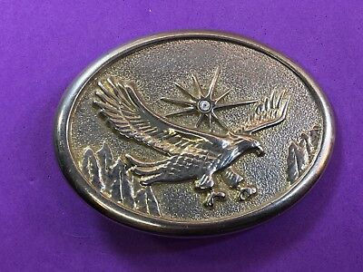 Vintage Belt Buckle. -  American Eagle over mountainside featuring Rhinestone