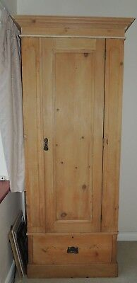 Antique Pine Wardrobe, Ideal For Small Bedroom
