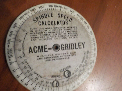 Acme-Gridley 1931 Spindle Speed Calculator, Production Estimator, No. pcs./hr