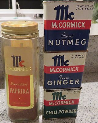 Three Vintage McCormick Spices In Tins and  One Large Bottle - With Spices