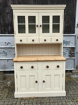 A Half Glazed Pine and Painted Dresser Sideboard Cupboard 2 drawer Shabby Chic