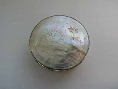 Antique Georgian silver and mother of pearl ornately decorated patch box