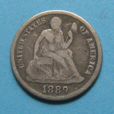 1889-S Seated Liberty Dime ✪ Lower Mintage Only 972,678 ✪ AK1119