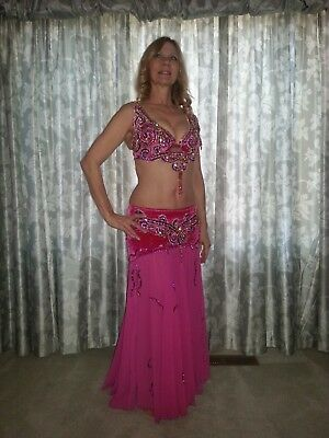 Belly Dance Fuchsia Hot Pink & Gold Syrian Sequin Jewel Chiffon Costume, Size M