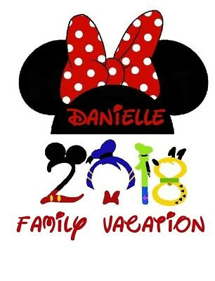 Disney Family Vacation Minnie 2018 Personalized Fabric T Shirt Iron On Transfer