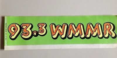 Vintage 1970's WMMR 93.3 Philadelphia Radio Station Bumper Sticker unused
