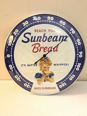 """Miss Sunbeam Bread Thermometer 12"""" Round Licensed Glass Lens Aluminum Body Works"""