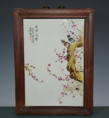 Fancy Chinese Famille Rose Porcelain Plaque Signed Master Liu Yucen Gb9687