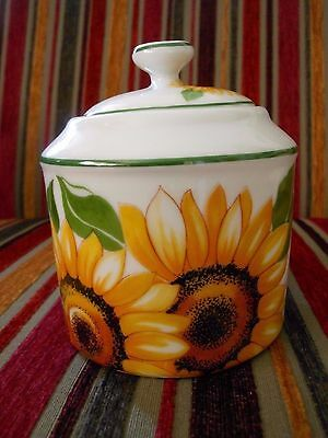 Limoges France- lidded pot - Porcelaine Decoree-  Sunflowers-