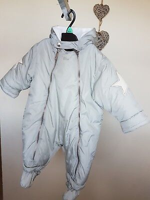 DIOR baby unisex boy girl grey star embroidered padded snowsuit all in one 6 m