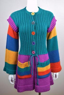 Vtg 70s OFFSPRING CoLoRBloCk KniT MoHair HiPPiE RaiNboW BriTe CarDiGaN Sweater M
