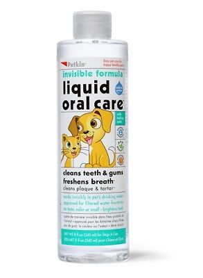 Petkin Liquid Oral Care Pet Dental Care Dog Cat Puppy Kitten Hygiene Teeth 8oz
