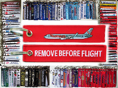 Keyring THOMSON Airlines Remove Before Flight tag keychain RED Boeing 767