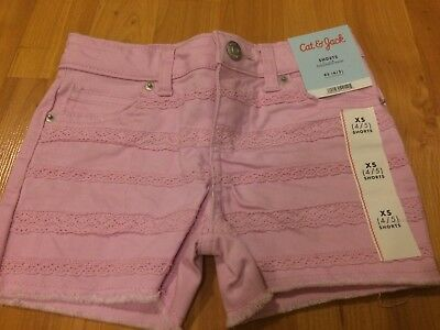 B86 NEW Cat & Jack PINK Shorts XS 4/5 Girls Jean WITH DOLEY DESIGNS FREE S/H !!