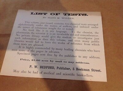 1885 Medical Ad, List of Tests By Hans Wilder