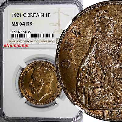 GREAT BRITAIN George V (1911-1936) Bronze 1921 Penny NGC MS64 RB KM# 810