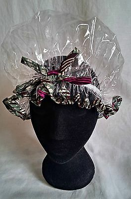 Handmade Clear Shower Cap with Maroon and Teal African Print Trim