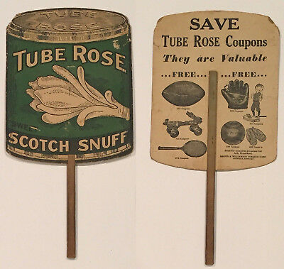 1920's Tube Rose Scotch Snuff Goldsmith Baseball Sports Advertising Fan Antique