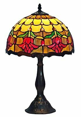 Stained Glass Table Lamp Tulip Accent Flower Design Tiffany Style Home Desk Lamp