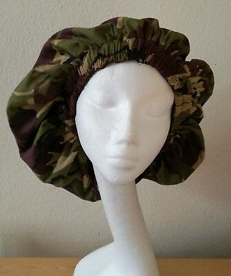 New Handmade Unisex Black, White and Green Camouflage Sleep/Lounge Caps