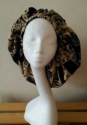Sleep/Lounge Cap Black and Cream Lined (Handmade)