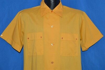 vintage 60s GOLDENROD CATS EYE BUTTONS LARGE COLLAR 1940s STYLE SHIRT MEDIUM M