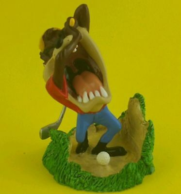 Taz Tasmanian Devil Figure Statue Looney Tunes Warner Bros Figure Golf Golfing