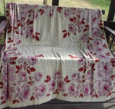 1920s ASSUIT Type *SILVER METALLIC THREAD TABLE COVER or PIANO SHAWL with ROSES*