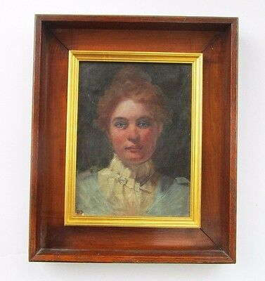 Rare Illinois Artist Carloline Wade Painting Antique 19Th To 20Th Century Woman